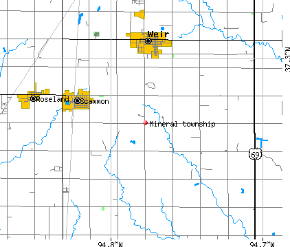 Mineral township, KS map