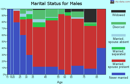 North East marital status for males