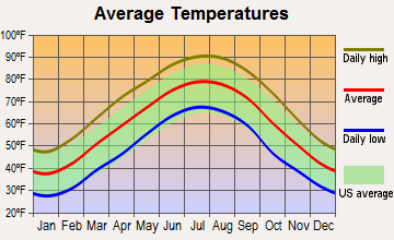 Bethel Springs, Tennessee average temperatures