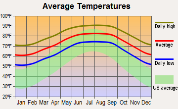 Oldsmar, Florida average temperatures