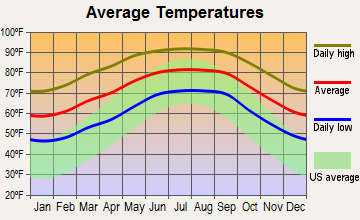 Bushnell, Florida average temperatures