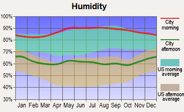 Eros, Louisiana humidity