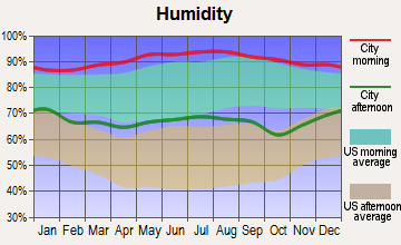 Mermentau, Louisiana humidity