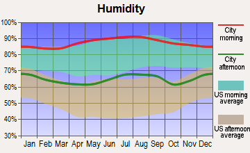 North Vacherie, Louisiana humidity