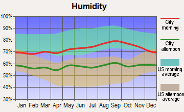 Reading, Massachusetts humidity