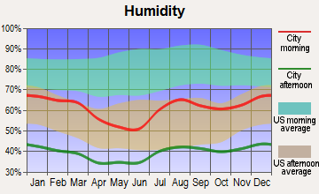 Fortuna Foothills, Arizona humidity