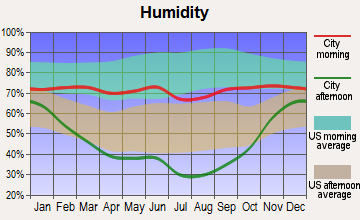 Three Forks, Montana humidity