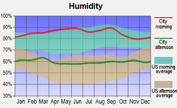 Cayucos, California humidity