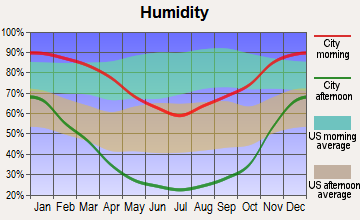 Exeter, California humidity