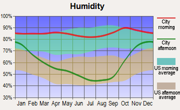 Metzger, Oregon humidity