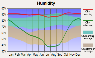 Oakridge, Oregon humidity