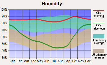 Tualatin, Oregon humidity