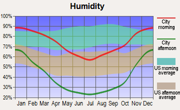 Lindsay, California humidity