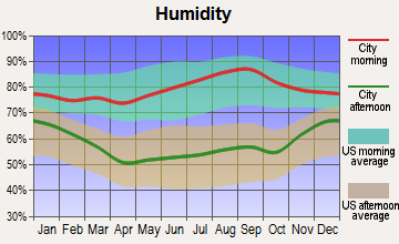 Pittsburgh, Pennsylvania humidity