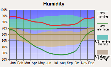 Orland, California humidity