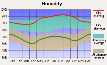 Cumberland Gap, Tennessee humidity