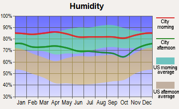 Kemah, Texas humidity