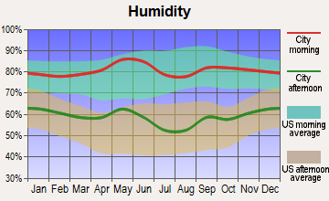 Tioga, Texas humidity