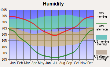 Tulare, California humidity