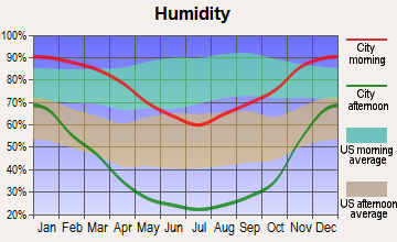 Visalia, California humidity
