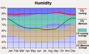 Willapa Valley, Washington humidity