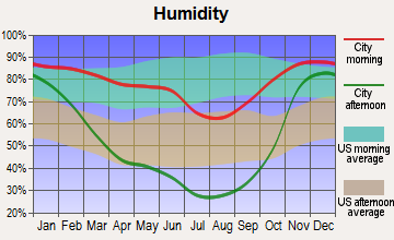 Valleyford, Washington humidity