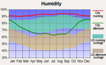 Point Roberts, Washington humidity