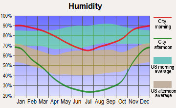 Coulterville, California humidity