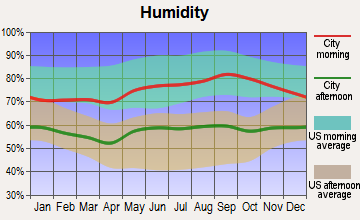 Madison Center, Connecticut humidity