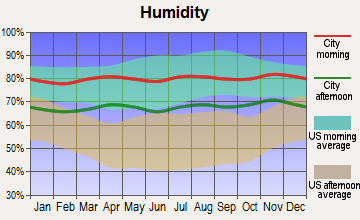 Hawaiian Acres, Hawaii humidity