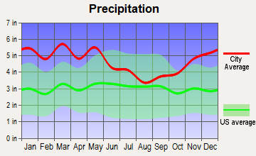 Bernice, Louisiana average precipitation
