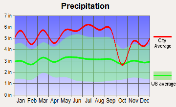 Chalmette, Louisiana average precipitation