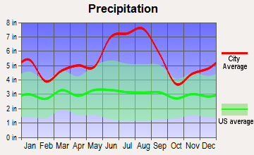 Charenton, Louisiana average precipitation