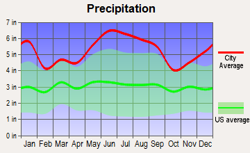 Delcambre, Louisiana average precipitation