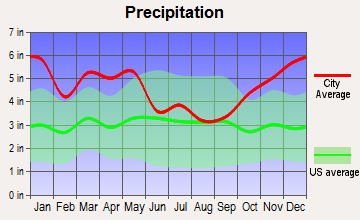 Deville, Louisiana average precipitation