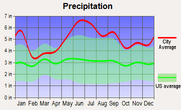 Hackberry, Louisiana average precipitation