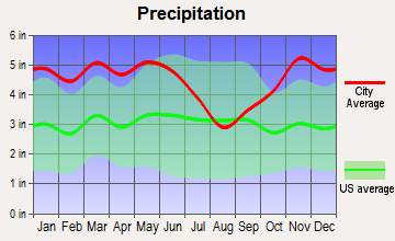 Haynesville, Louisiana average precipitation