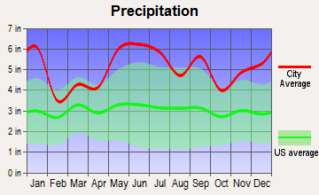 Lake Charles, Louisiana average precipitation