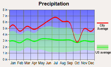 Marrero, Louisiana average precipitation