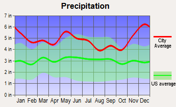 Merryville, Louisiana average precipitation
