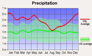 North Hodge, Louisiana average precipitation