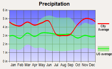 Plain Dealing, Louisiana average precipitation