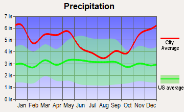 Plaucheville, Louisiana average precipitation
