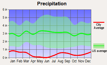 Bluewater, Arizona average precipitation