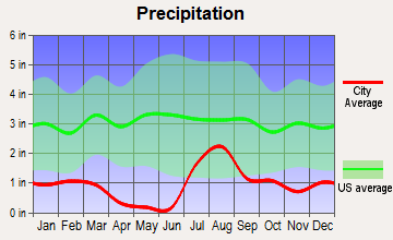 Flowing Wells, Arizona average precipitation
