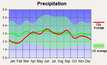 Dearborn Heights, Michigan average precipitation