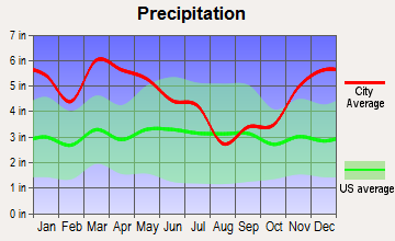North Carrollton, Mississippi average precipitation