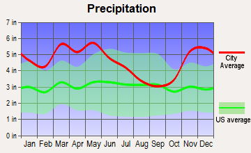 Como, Mississippi average precipitation