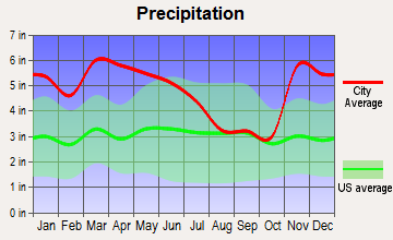 Charleston, Mississippi average precipitation