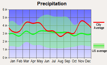 Qulin, Missouri average precipitation